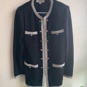 St. John Black Jeweled Evening Jacket w/ Zipper